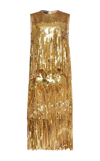 Medium rochas gold sleeveless sequin fringe dress