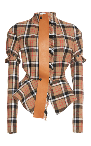 Medium loewe plaid tie leather jacket 2