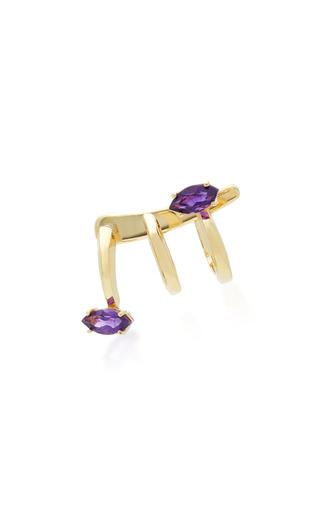 Medium bea bongiasca purple gloriosa lily 9k gold amethyst spiral earrings
