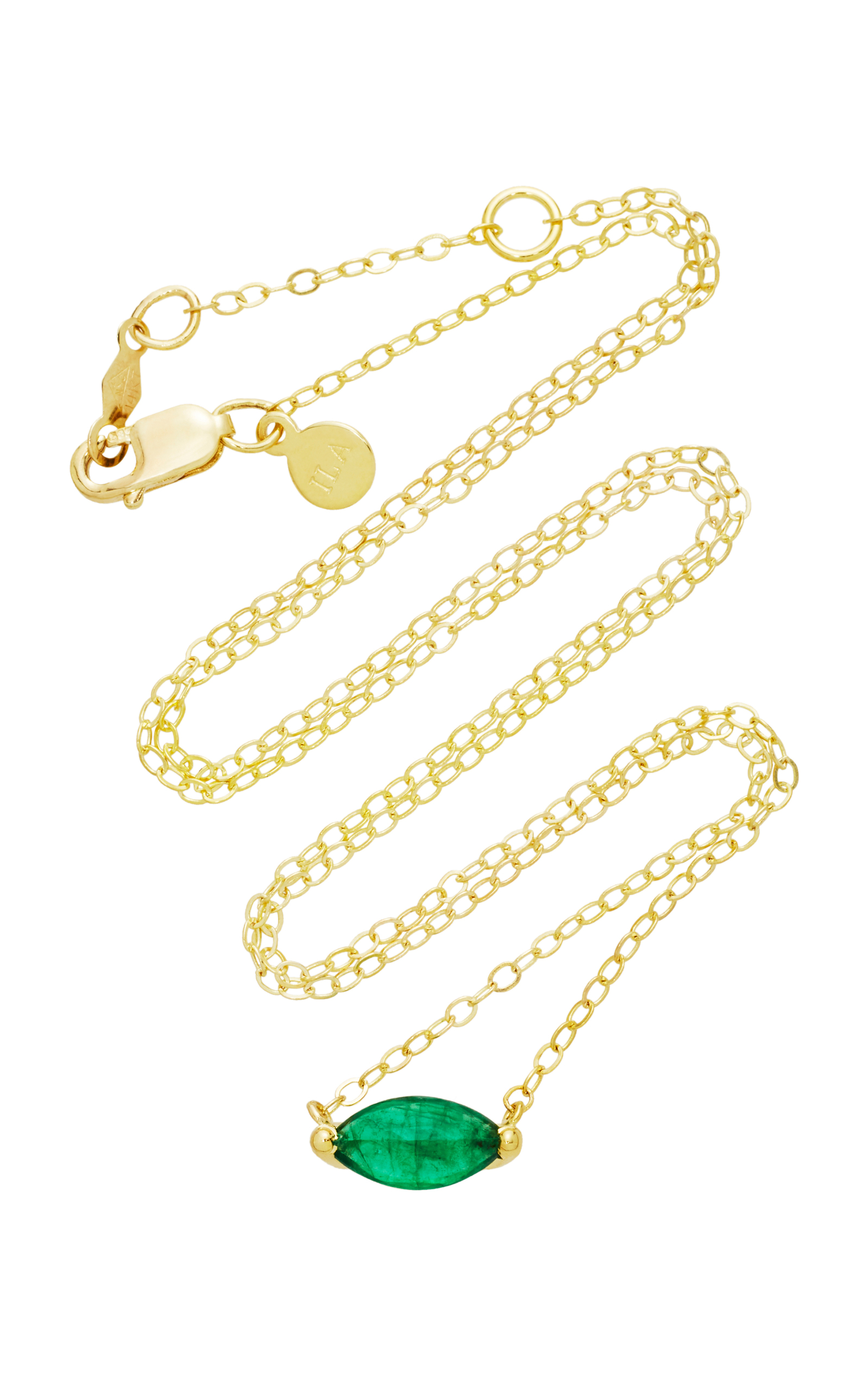 ILA 14K GOLD EMERALD NECKLACE