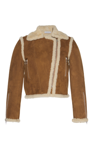 Medium j w anderson brown gingerbread shearling biker jacket