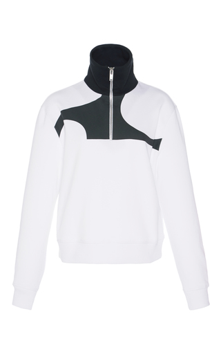 Medium courreges white half zip pullover sweat shirt