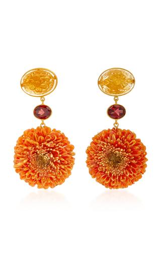 Medium bahina orange dalia 18k gold citrine and garnet earrings