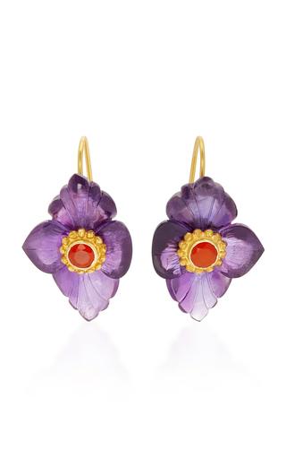 Medium bahina purple 18k gold amethyst and fire opal earrings