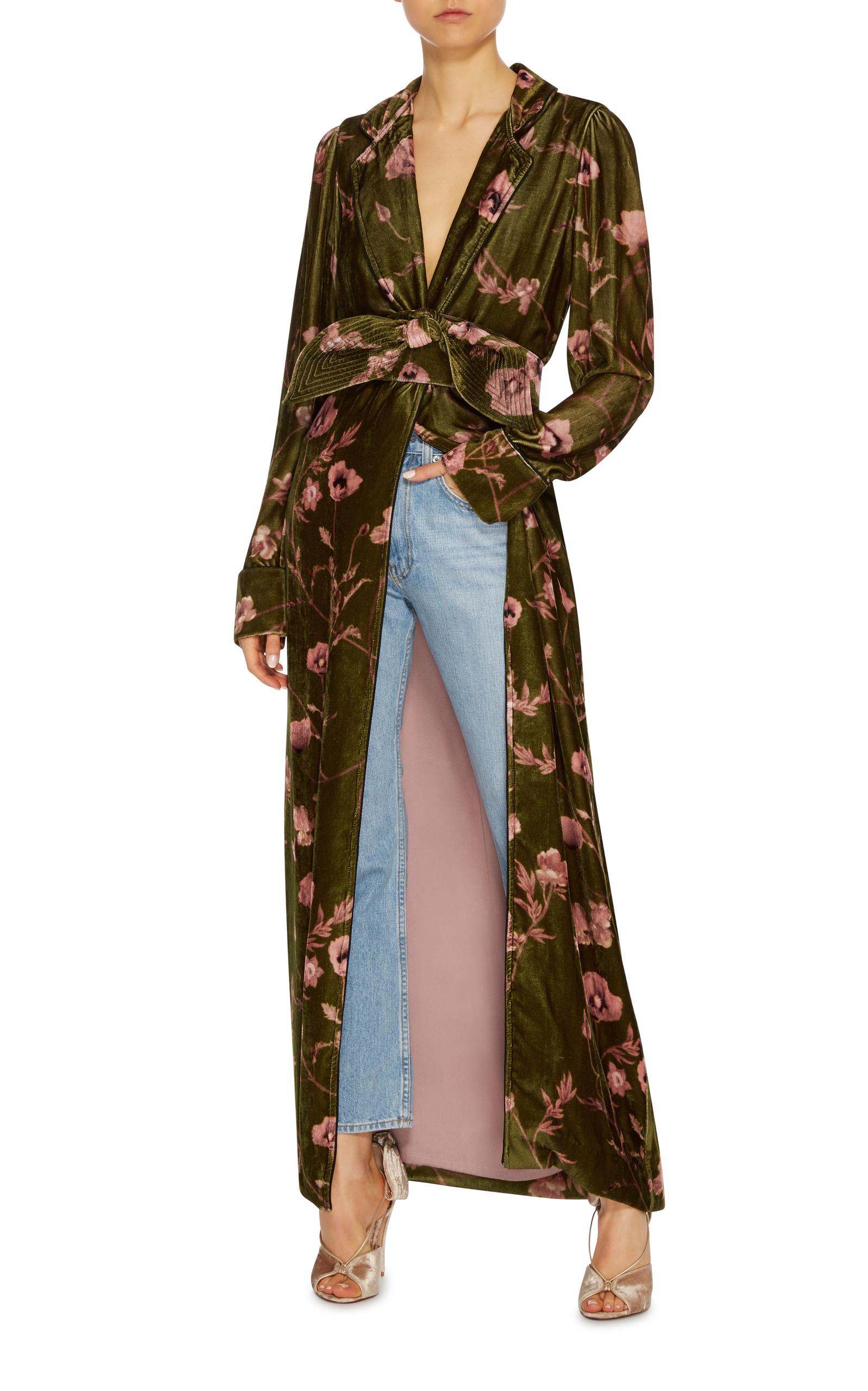 Florari Belted Velvet Kimono Robe by Johanna Ortiz | Moda Operandi