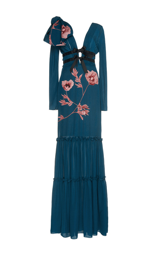 Medium johanna ortiz blue lady of the lake double georgette dress