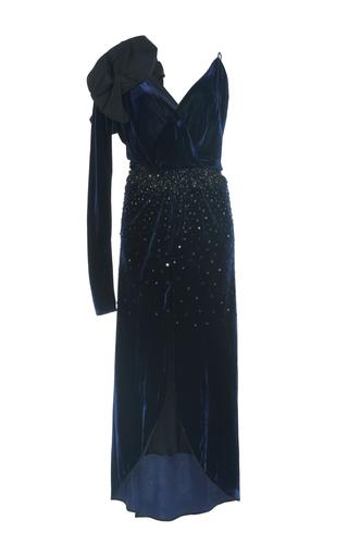 Medium johanna ortiz navy carmelilla asymmetrical velvet dress