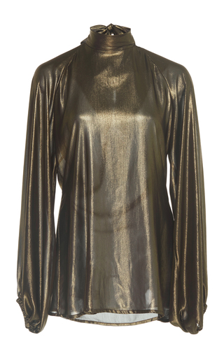 Medium johanna ortiz gold rolling foiled georgette blouse