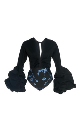 Medium johanna ortiz print gitan puff sleeve poplin bodysuit
