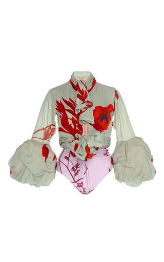 Medium johanna ortiz print alana scarf neck double georgette bodysuit