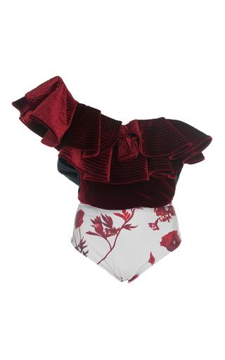 Medium johanna ortiz burgundy lorca ruffled velvet bodysuit