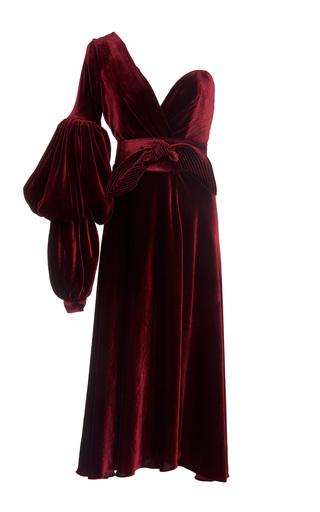 Medium johanna ortiz burgundy sabina one shoulder velvet dress