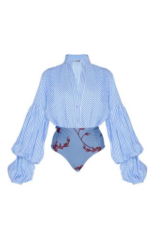 Medium johanna ortiz stripe penny puff sleeve poplin bodysuit