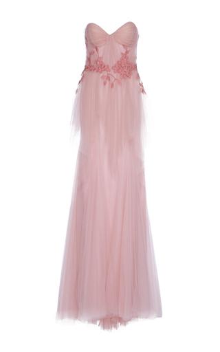 Medium costarellos neutral strapless tulle gown