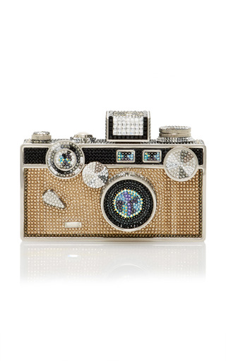 Medium judith leiber silver crystal camera clutch