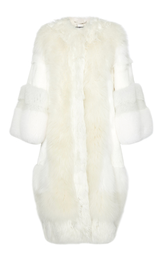 Medium dolce gabbana white oversized fur coat