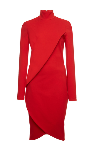 Medium givenchy red red dress in matte heavy crepe jersey with long sleeves
