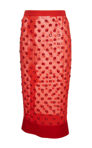 Medium givenchy red skirt in organza with embroidered circles