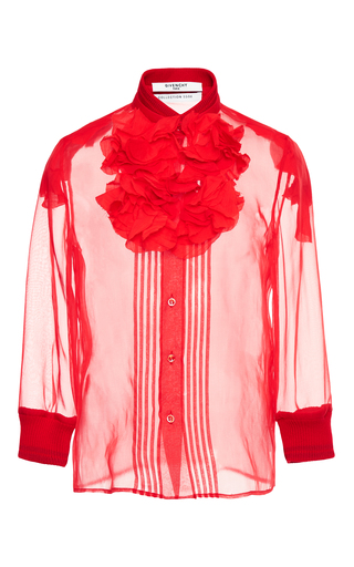Medium givenchy red shirt in silk organza with knit detail