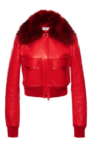 Medium givenchy red outerwear in nappa plonge with raccoon collar