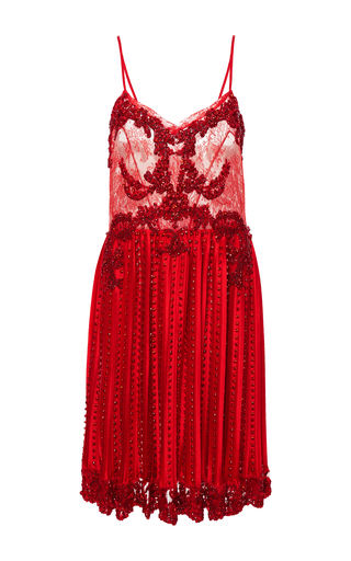 Medium givenchy red silk satin dress with embroidery
