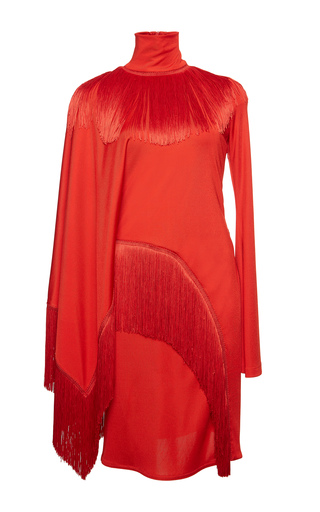 Medium givenchy red dress in heavy shiny jersey with fringes
