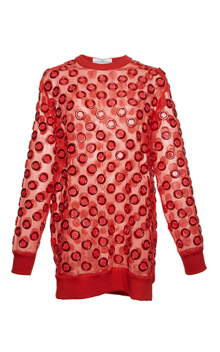 Medium givenchy red sweat in organza with embroidered circles