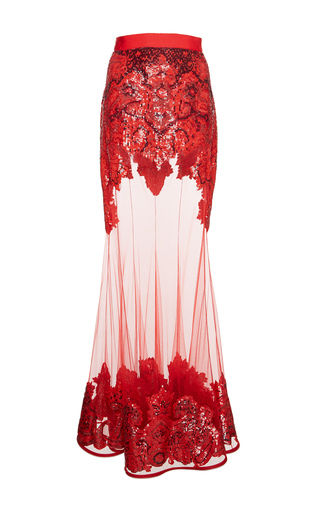 Medium givenchy red embroidered tulle skirt