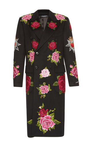 Medium dolce gabbana black floral coat