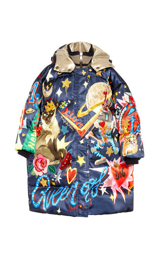 Medium dolce gabbana multi printed puffer coat