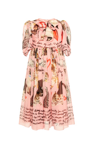 Medium dolce gabbana pink printed dress with bow tie 2