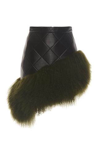 Medium david koma black mongolian fur hem leather skirt
