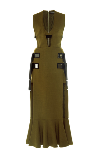 Medium david koma neutral overlay cutout wool dress