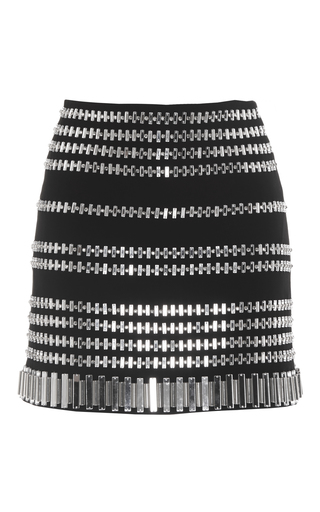 Medium david koma black white embellished mini skirt