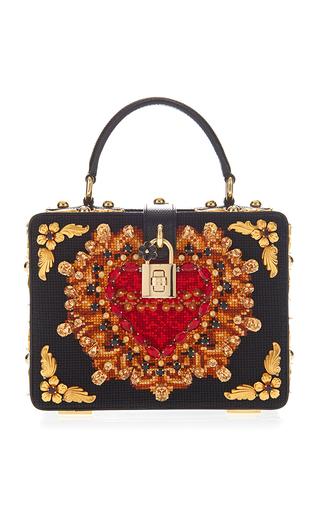 Medium dolce gabbana black heart embroidery box bag