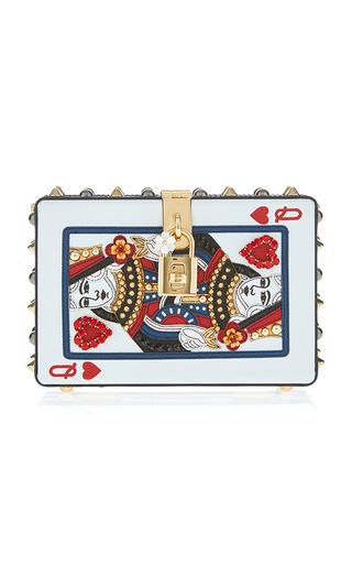 Medium dolce gabbana white queen of hearts card clutch