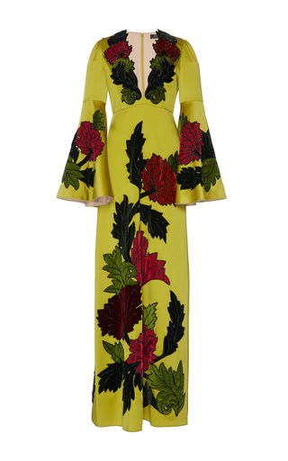 Medium andrew gn yellow bead embroidered v neck gown