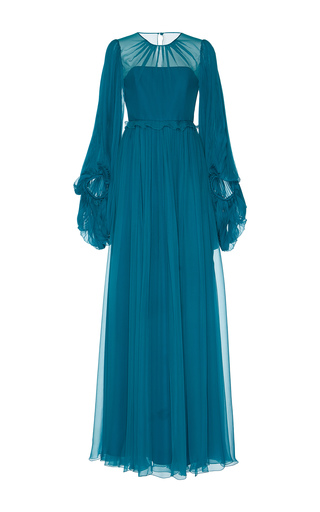 Medium andrew gn blue pleated long sleeve gown