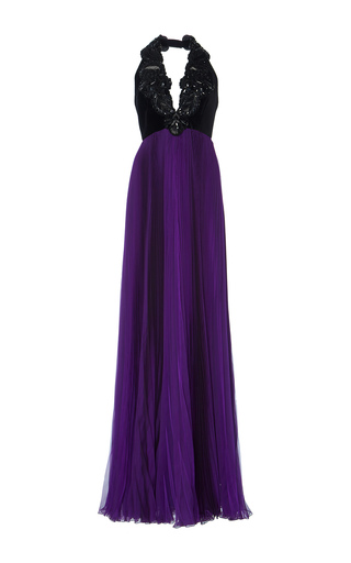 Medium andrew gn purple bead embroidered halter gown