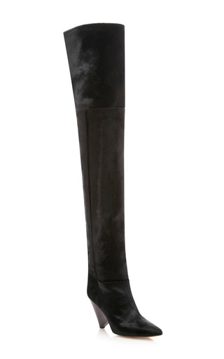 Medium isabel marant black lostynn calf hair boot