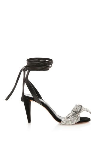 Medium isabel marant black akynn sandal with glitter bow