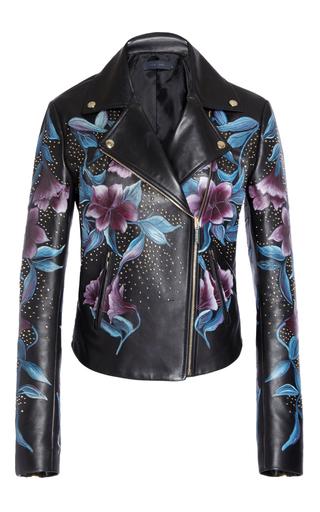 Medium elie saab black floral moto leather jacket