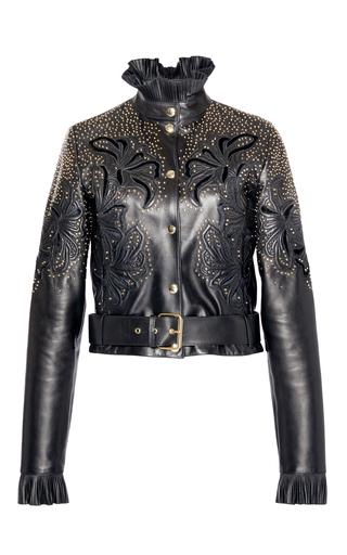 Medium elie saab black embroidered leather jacket
