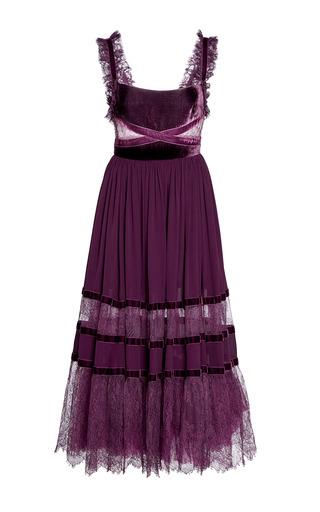 Medium elie saab purple crepe and velvet midi dress