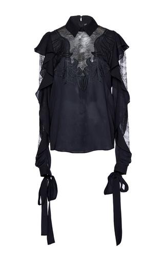Medium elie saab black long sleeve ruffled blouse