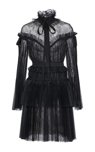 Medium elie saab black long sleeve tulle and lace dress