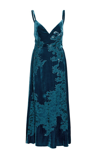 Medium elie saab blue velvet and lace slip dress