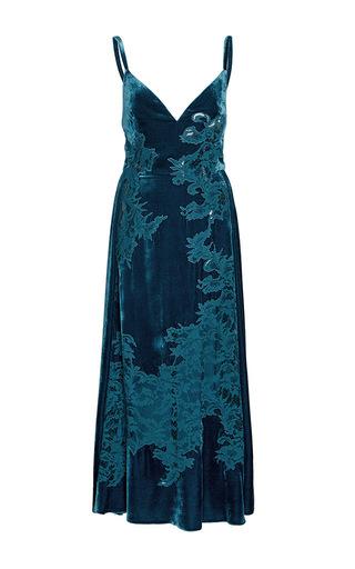 Medium elie saab blue velvet and lace slip dress