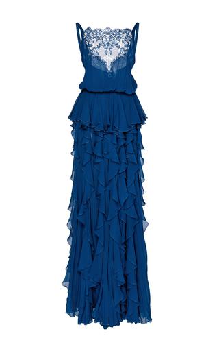 Medium elie saab blue sleeveless ruffled gown