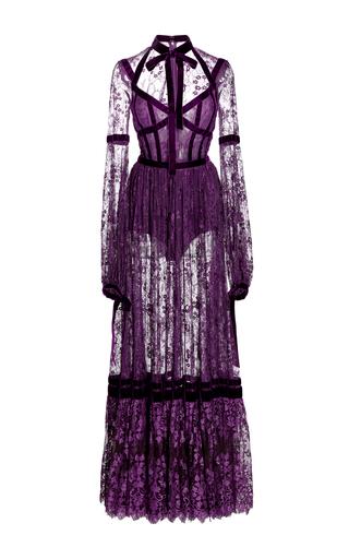 Medium elie saab purple lace long sleeve dress